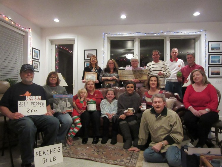 SHOW AND TELL--Mayberry Chapter members (and some of their Mayberry-themed gifts) at their party in December.