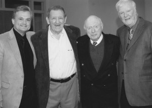 """Jimmie at a 2008 Reunion of friends from Hitchcock's """"The Jar"""" in Florence, Ala. Reunion moderator Terry Pace is at left with George Lindsey and director Norman Lloyd. Photo by Anita Pace."""