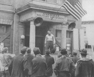 "Jimmie starring in 1959's ""Verboten!"" in front of what soon would be transformed into the Mayberry Courthouse."