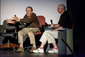 GREAT DIRECTION--TAGS assistant director (and later Emmy-award winning director) Bruce Bilson shares his insider's knowledge of Mayberry with Neal Brower during their lecture to a packed auditorium during Mayberry Days. Photo by Hobart Jones.