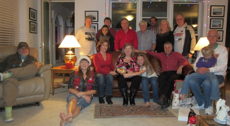 Members of Mayberry chapter gathered for their Christmas party and celebration of Ronnie Schell's birthday, including his favorite kind of cake (.