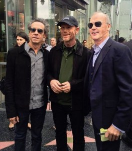 HOLLYWOOD TREK STARS--Ron is flanked by Brian Grazer and Michael Keaton at his Hollywood Walk of Fame ceremony.