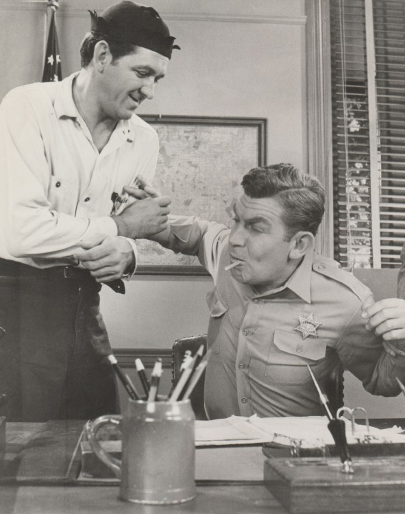 SUCKER PUNCH--George Lindsey and Andy Griffith horsing around between takes on the set during the last season of TAGS.