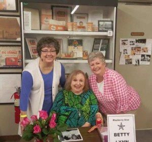 "ALL HAIL--Susan Honey Knell (left) and Meg Berrian of ""Hail to Thee, Miss Mayberry"" weren't about to miss a chance to for a photo with Betty Lynn, everybody's choice for the real Miss Mayberry!"