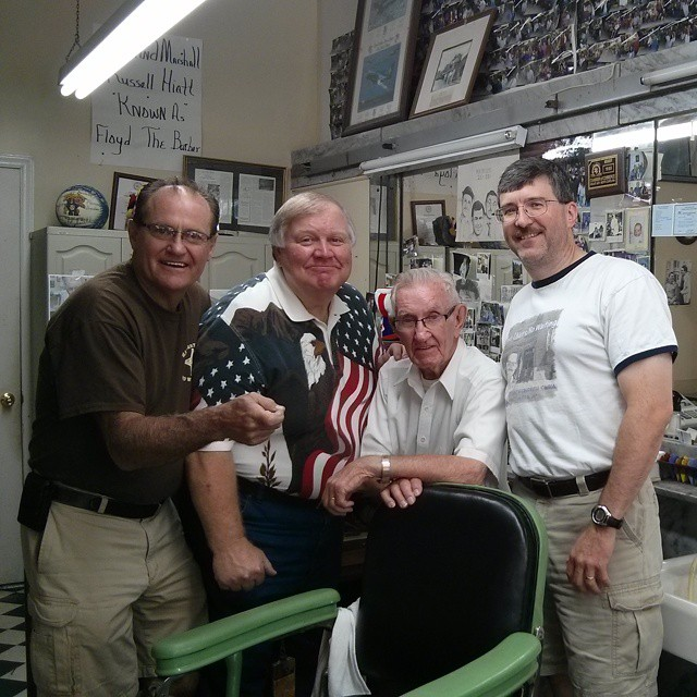FOUR FRIENDS FOREVER--At the shop with Tim Pettigrew, Kenneth Junkin and Allan Newsome in 2014.