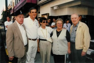MAYBERRY MEMORIES--Dick Linke (left) with Emmett and Barbara Forrest and Lorraine and Earlie Gilley on the streets of Mount Airy during Mayberry. Days in 1997. All are gone now, but none will ever be forgotten in Mayberry.