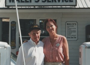 A VISIT TO WALLY'S--Dick and Bettina Linke at the Mayberry Squad Car Rendezvous in Bradford, Ohio, in 1995.