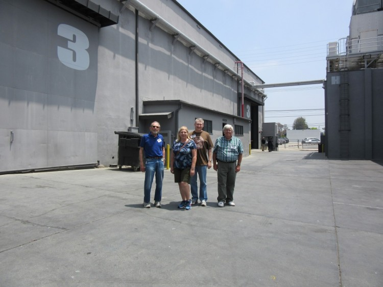 SETTING...THE STAGE--Bruce Bilson (far left) with members of Mayberry chapter during an ultra-rare access to the studio home of the soundstage where TAGS was filmed. All made extra-special by having a guided tour from someone with Bruce's extensive first-hand knowledge of TAGS filming and the details about the lot and its soundstages.