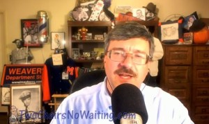 """LOOK OUT, LEONARD BLUSH!--Host Allan Newsome during a recent """"Two Chairs, No Waiting"""" podcast. (There's no word yet on whether he might be adding a canary to his webcast cast.)"""