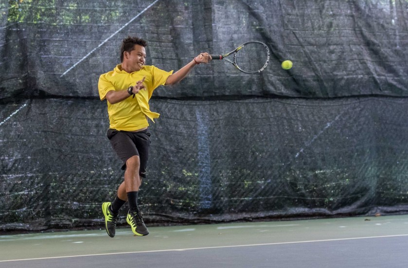 TAG Tennis Coach Dave Regencia with a western grip Forehand