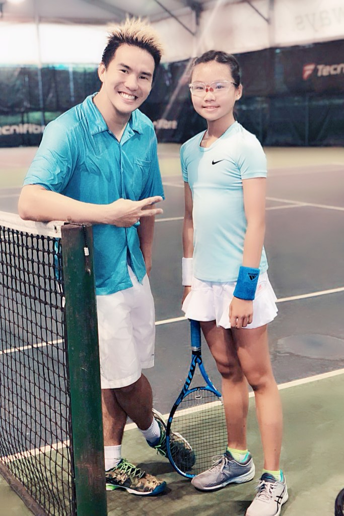 Coach XT and Top Singapore Junior Tennis Player Charlotte Yeo at Winchester Tennis Arena