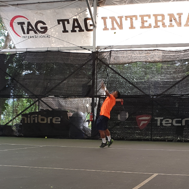 TAG Coach Ray Evan has a clear target in mind prior to executing his Serve and Volley