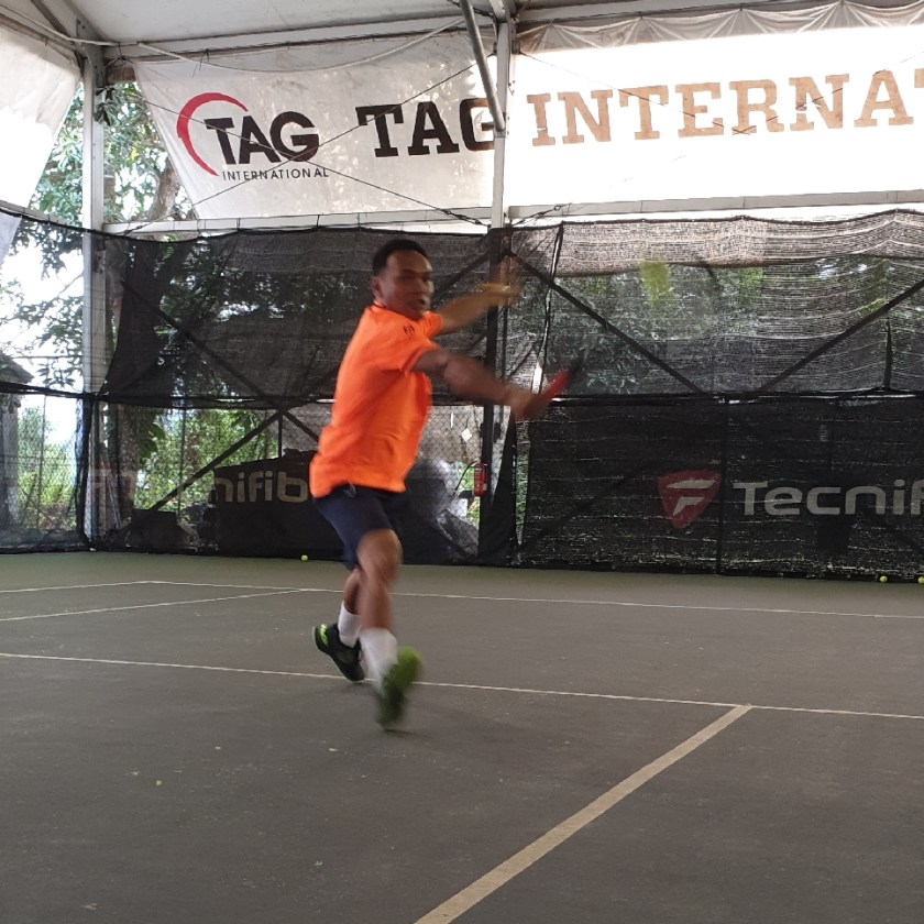 TAG Coach Ray Evan hits a beautiful backhand volley