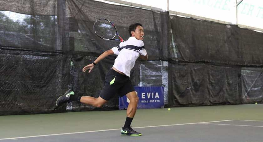 Coach Israel of TAG International Tennis Academy with a very linear swing path to his forehand