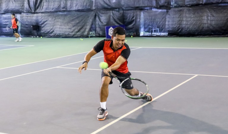 TAG International Tennis Academy Coach Dave coaching at SAFRA Tampines