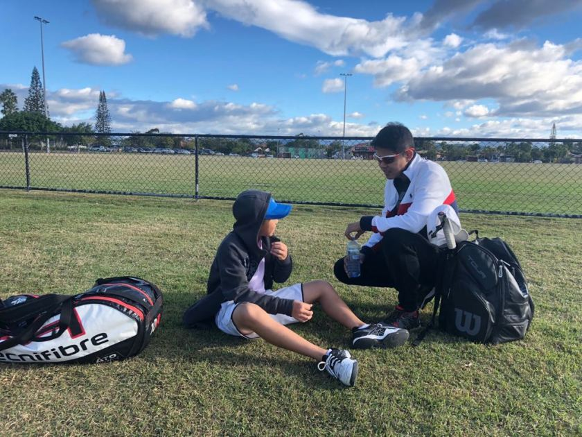 Coach Jeremy Maniago with Bill Chan in Sydney, Australia