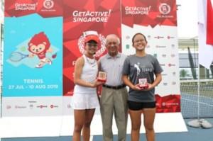 TAG Tennis Academy's Charlotte Yeo and Sarah Chan winning
