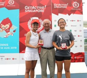 TAG Tennis Academy's Charlotte Yeo and Sarah Chan winning