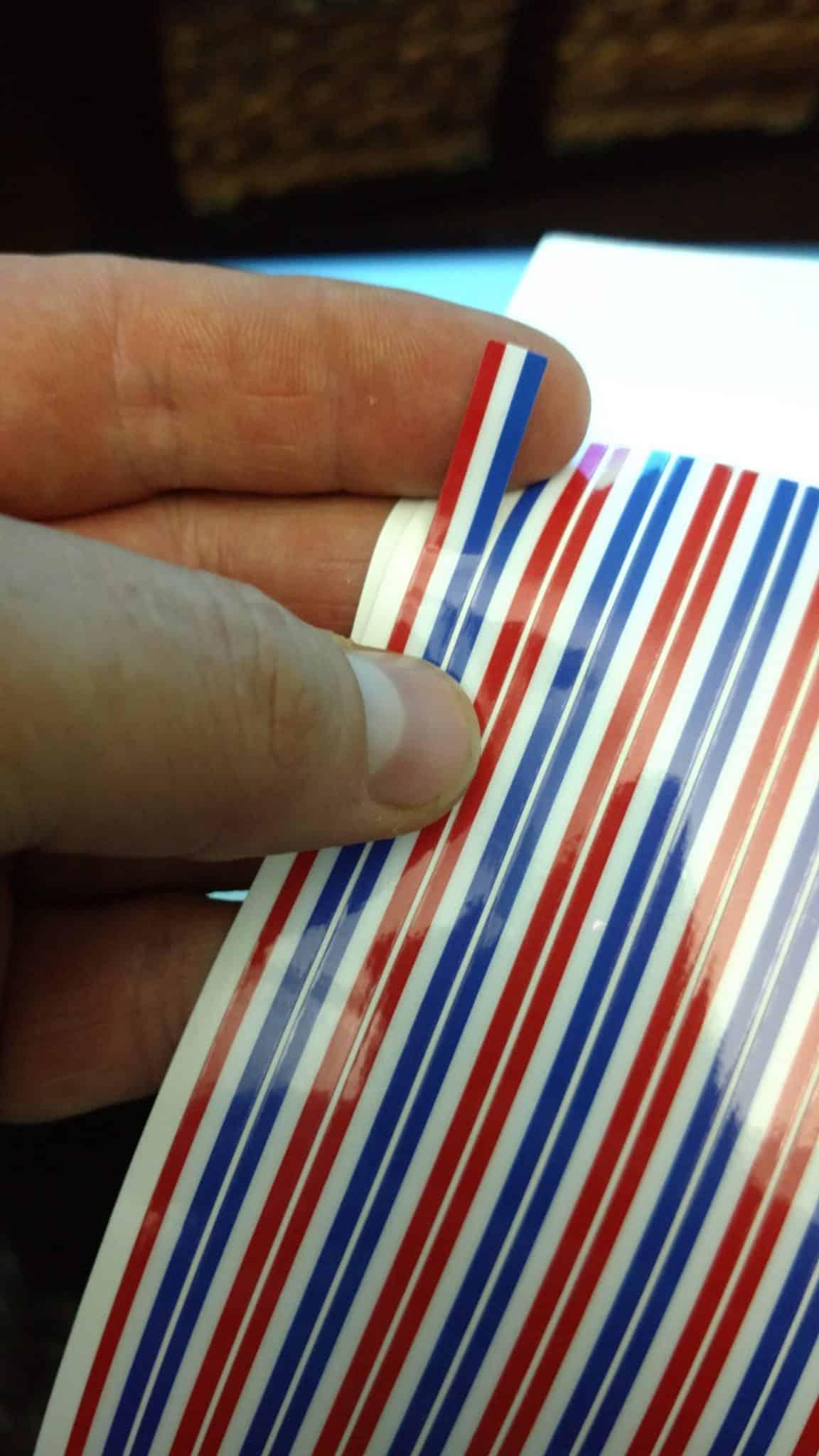 multi-colored gear label strip