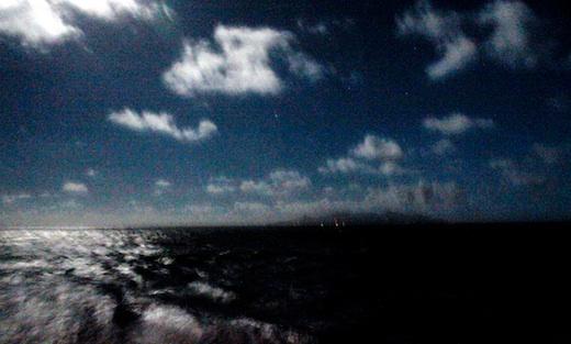 Full moon over Rarotonga as we sailed away