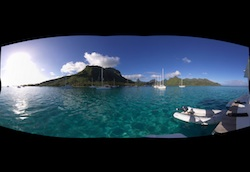 Panorama of Moorea from the anchorage at Opunohu Bay