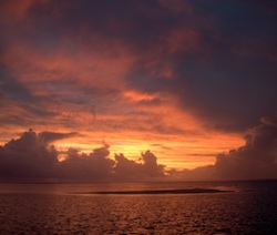 Sunset with squalls from Aitutaki