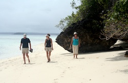 Walking on Eukafa's wonderful white sand beach