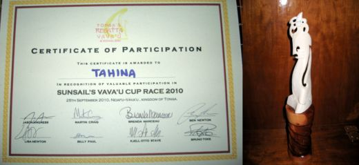 Certificate and trophy from Regatta Vava'u Race for Tahina