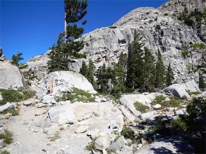 Trail turns east to Heather Lake