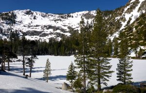 Lower Angora Lake Covered with Snow on April 16, 2016. © Jared Manninen