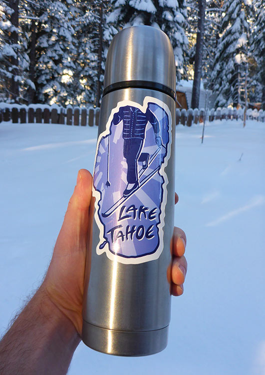 Cross-Country Ski Lake Tahoe Sticker on a Thermos