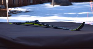 Fischer Superlite Vario Crown Waxless Cross-Country Skis (192 cm). Notice how high off of the platform the ski rises. Not only can you see the shadow the ski casts, but well beyond it to the other side. This ski features a double camber, and you could fit at least one finger between the ski and the platform. © Jared Manninen
