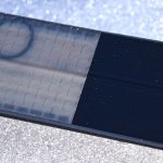 Close-up of the fish scale pattern of a Fischer S-Bound classic waxless backcountry cross-country ski. Notice that the materials between the pattern and the base are completely different. The previous picture was not clear due to the lighting. Also, this pattern is uniform throughout the grip zone. © Jared Manninen