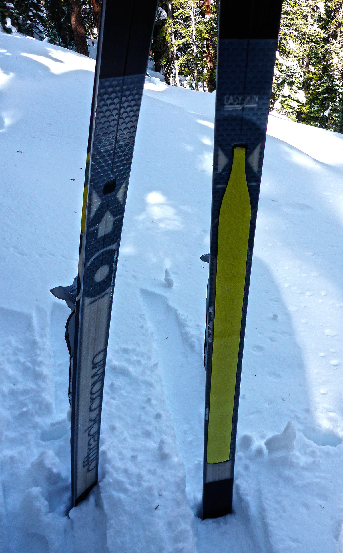 Although these are technically Fischer Excursion 88s, they feature the same type of setup as the S-Bounds for the EZ Skins. The ski on the right has the skin incorprated into the grip zone. © Jared Manninen