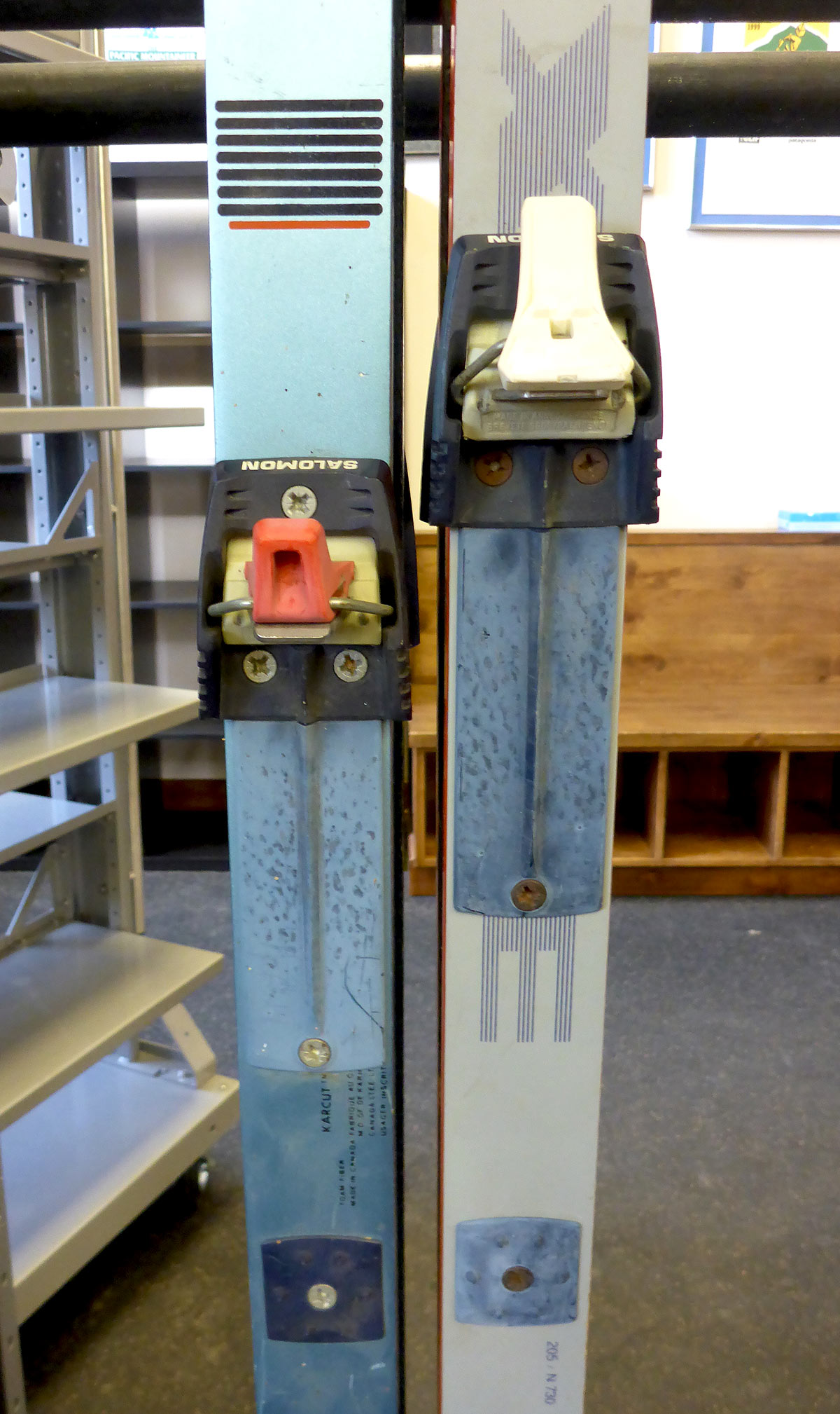 These types of skis and bindings need to be permanently retired. Do yourself a favor and invest in some new gear if this is similar to what your current setup is. © Jared Manninen