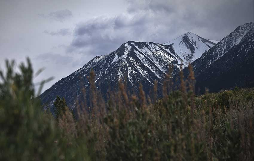 View of snow-covered Jobs Peak from Carson Valley