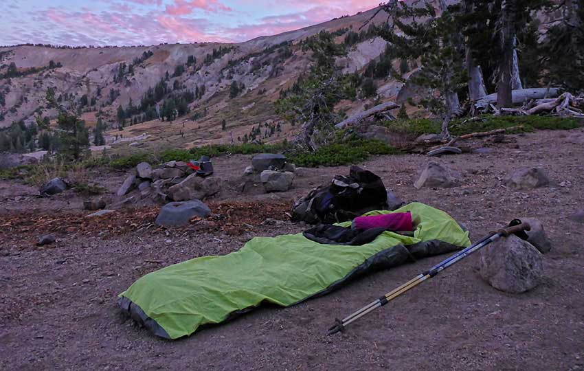 Bivy campsite on the Tahoe Rim Trail