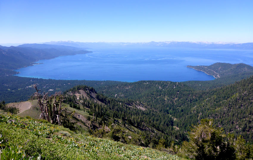 Morning view of Crystal Bay from the Tahoe Rim Trail