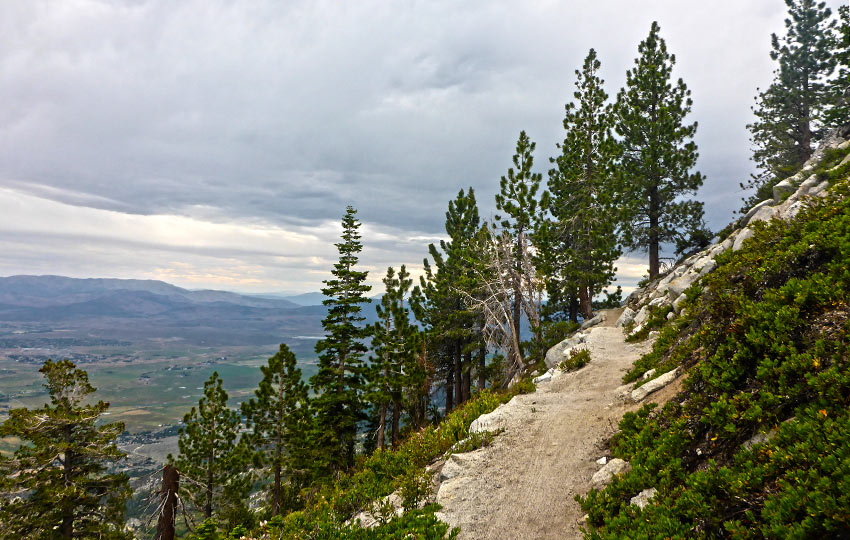 Hiking trail along the mountains with view of Carson Valley