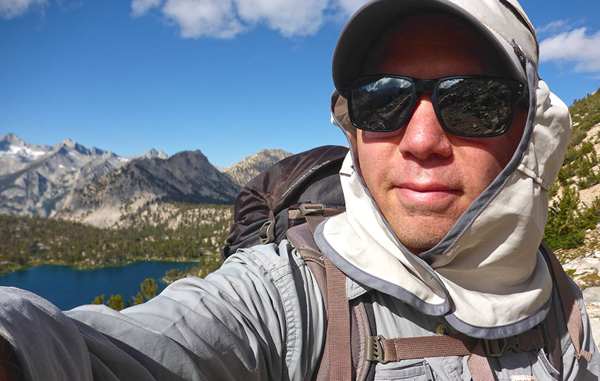 Jared Manninen on the trail to Kearsarge Pass