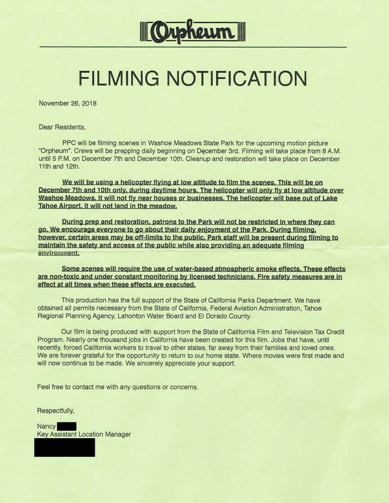 Lake Tahoe filming notification for Top Gun: Maverick