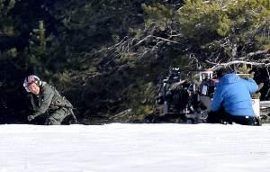 Tom Cruise running through the snow while filming Top Gun: Maverick