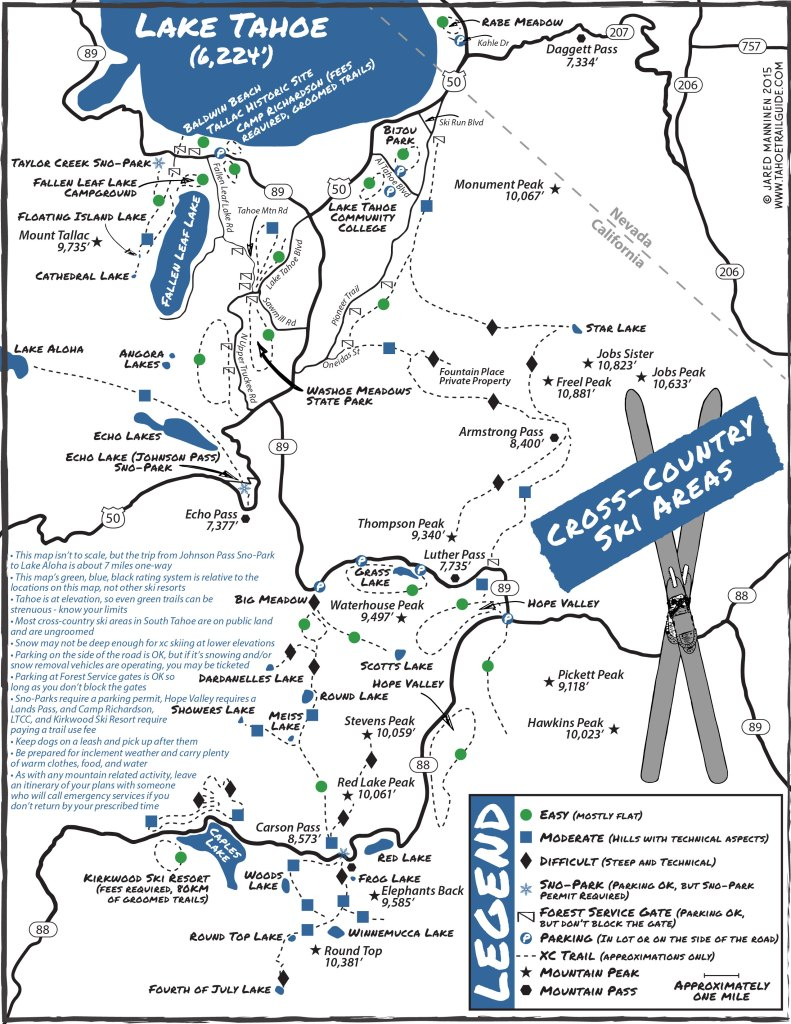 Map of general cross-country skiing areas in South Lake Tahoe