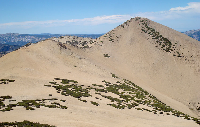 Mountain peak of decomposing granite