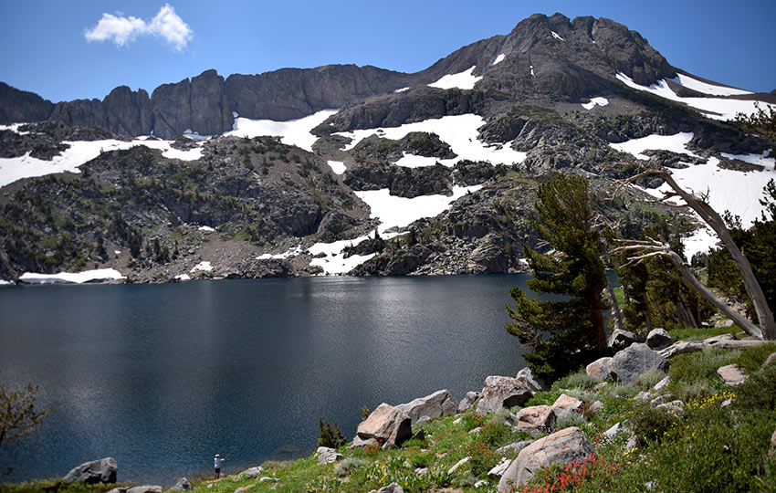 Alpine lake with mountains and snow in the background