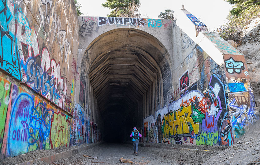Hiker beginning to walk into an old train tunnel covered with graffiti art