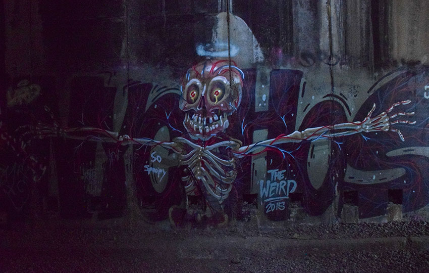 Graffiti art on the walls of train tunnels in Truckee, CA