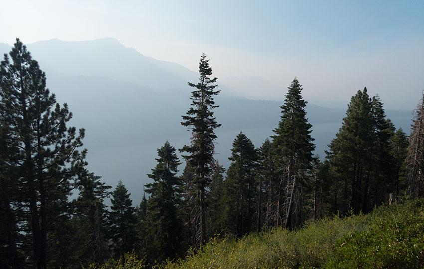 Wildfire smoke at Lake Tahoe