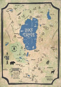 Fun Vintage Lake Tahoe Map