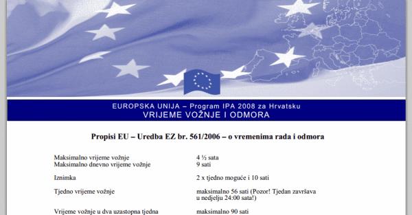 tahograf uredba EZ 561/2006 ministarstvo